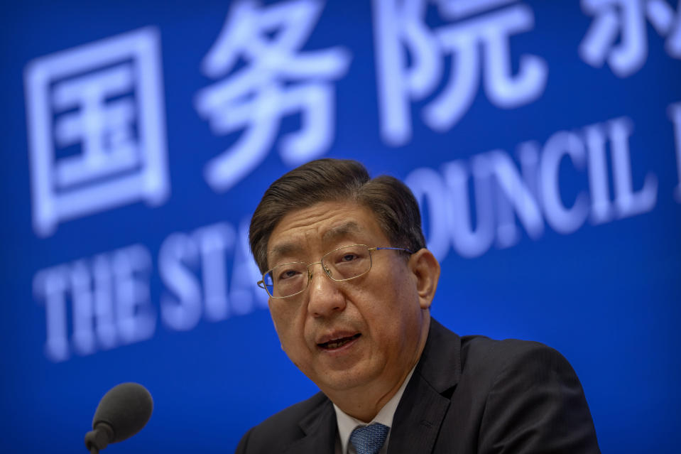 Zeng Yixin, Vice Minister of China's National Health Commission, speaks at a press conference at the State Council Information Office in Beijing, Thursday, July 22, 2021. Zeng said Thursday he was taken aback by the World Health Organization's plan for the second phase of a COVID-19 origins study. (AP Photo/Mark Schiefelbein)