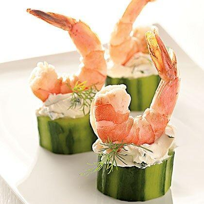 """<p>Poached shrimp star in this stand-out appetizer of Shrimp in Cucumber Cups. </p><p><a href=""""https://www.myrecipes.com/recipe/shrimp-cucumber-cups"""" rel=""""nofollow noopener"""" target=""""_blank"""" data-ylk=""""slk:Shrimp in Cucumber Cups Recipe"""" class=""""link rapid-noclick-resp"""">Shrimp in Cucumber Cups Recipe</a></p>"""