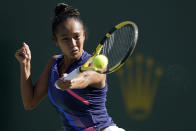 Leylah Fernandez, of Canada, returns a shot to Shelby Rogers at the BNP Paribas Open tennis tournament Tuesday, Oct. 12, 2021, in Indian Wells, Calif. (AP Photo/Mark J. Terrill)