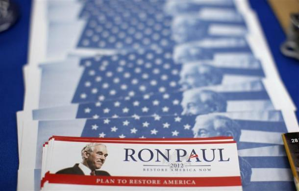 Paul's information packets are seen at a Town Hall meeting at the Ericson Public Library during a campaign stop in Boone, Iowa, December 8, 2011. (REUTERS/Jim Young)
