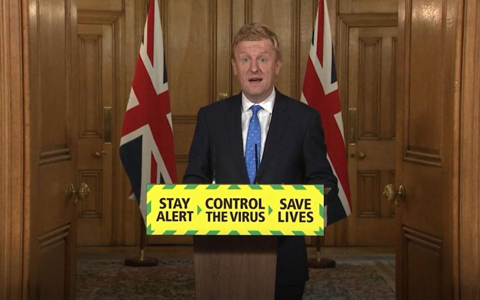 Screen grab of Culture, Media and Sport Secretary, Oliver Dowden during a media briefing in Downing Street, London, on coronavirus (COVID-19). (Photo by PA Video/PA Images via Getty Images)