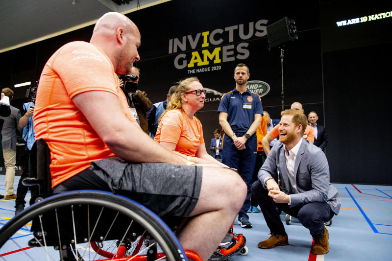THE HAGUE, NETHERLANDS - MAY 09: Prince Harry, Duke of Sussex greets athletes during the launch of the Invictus Games on May 9, 2019 in The Hague, Netherlands. (Photo by Patrick van Katwijk/WireImage)