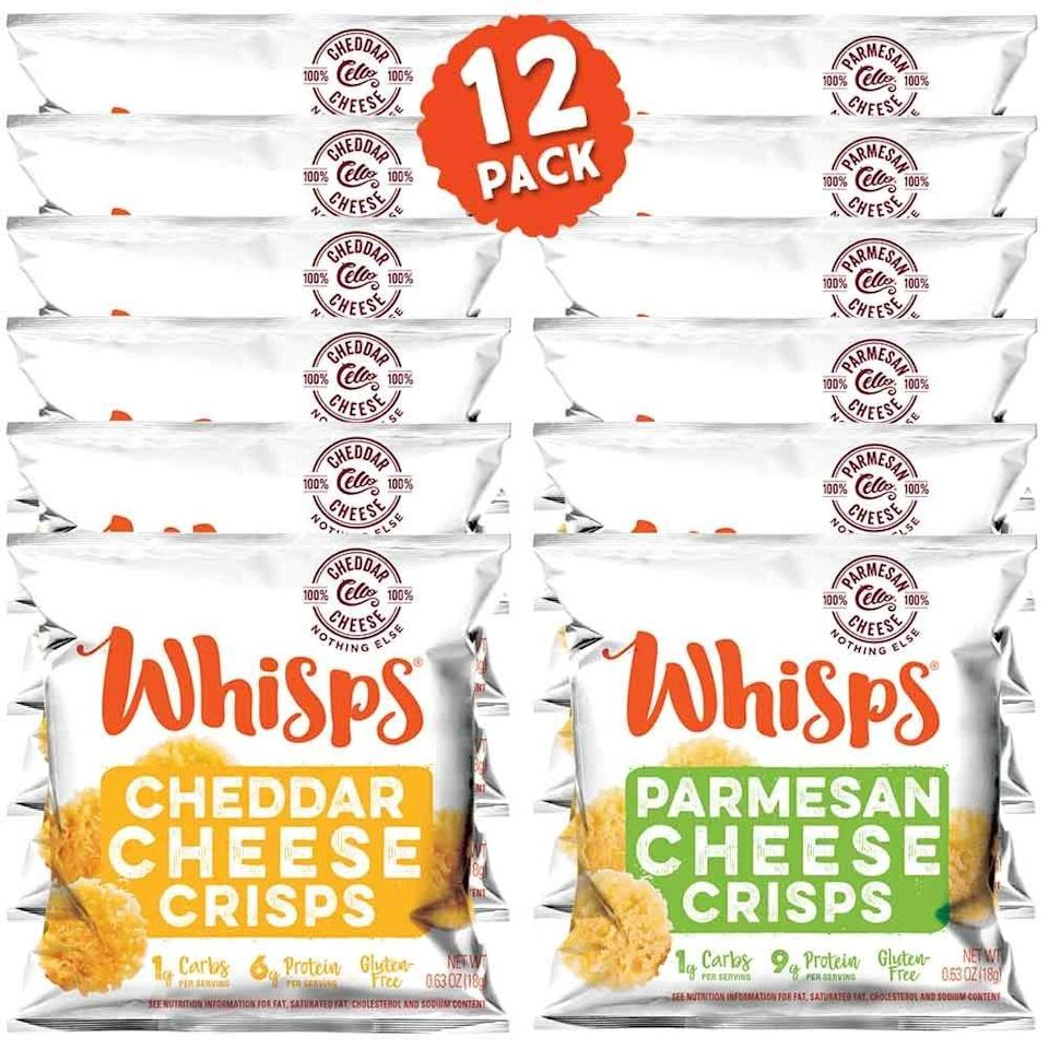 """<p>These <a href=""""https://www.popsugar.com/buy/Whisps-Cheese-Crisps-551012?p_name=Whisps%20Cheese%20Crisps&retailer=amazon.com&pid=551012&price=15&evar1=fit%3Aus&evar9=45752863&evar98=https%3A%2F%2Fwww.popsugar.com%2Fphoto-gallery%2F45752863%2Fimage%2F47241711%2FThis-Cheesy-Snack&list1=shopping%2Camazon%2Chealthy%20snacks%2Csnacks%2Clow%20calorie%2Clow-carb&prop13=api&pdata=1"""" class=""""link rapid-noclick-resp"""" rel=""""nofollow noopener"""" target=""""_blank"""" data-ylk=""""slk:Whisps Cheese Crisps"""">Whisps Cheese Crisps</a> ($15 for 12) are almost addictive; they're salty, crunchy, and delicious.</p>"""