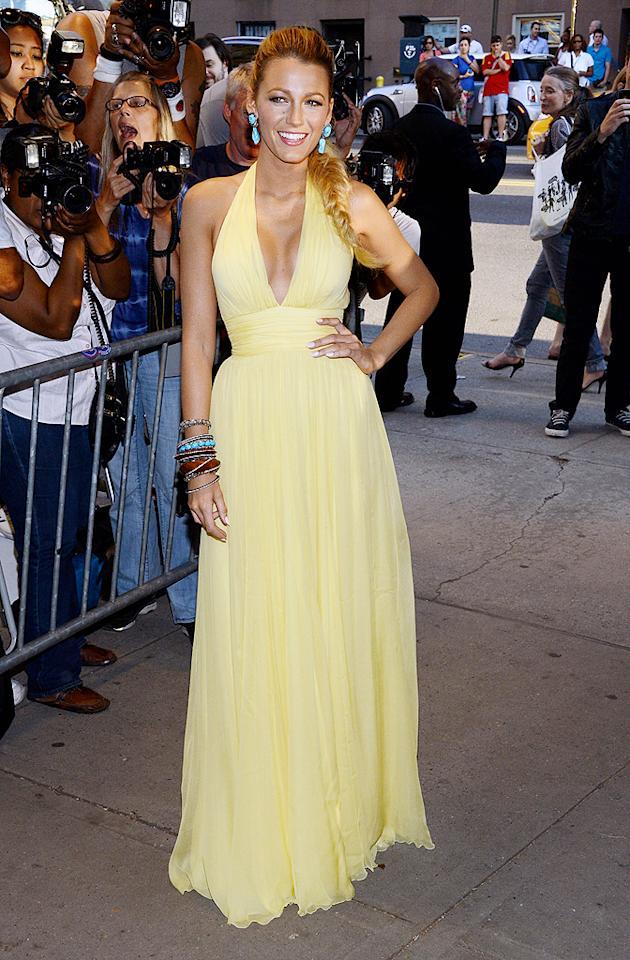 "Blake Lively mixed red carpet elegance with her personal bohemian style when she showed up at the NYC premiere of <a target=""_blank"" href=""http://movies.yahoo.com/movie/savages-2012/"">""Savages""</a> in this lemony Gucci gown, side braid, and stacked bangles. What do you make of the Gossip Girl's getup? (6/27/2012)"