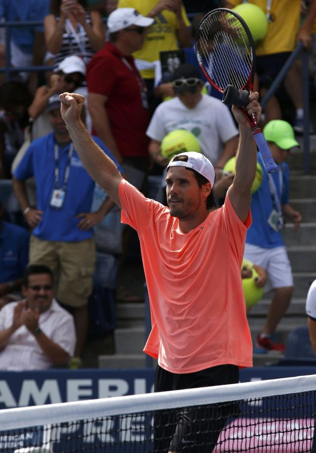 Tommy Haas of Germany celebrates his victory over Lu Yen-Hsun of Taiwan at the U.S. Open tennis championships in New York August 30, 2013. REUTERS/Mike Segar (UNITED STATES - Tags: SPORT TENNIS)