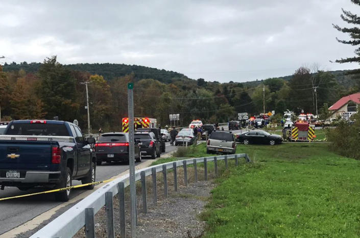 <p> In this Saturday, Oct. 6, 2018 photo, emergency personnel respond to the scene of a deadly crash in Schoharie, N.Y. (WTEN via AP) </p>