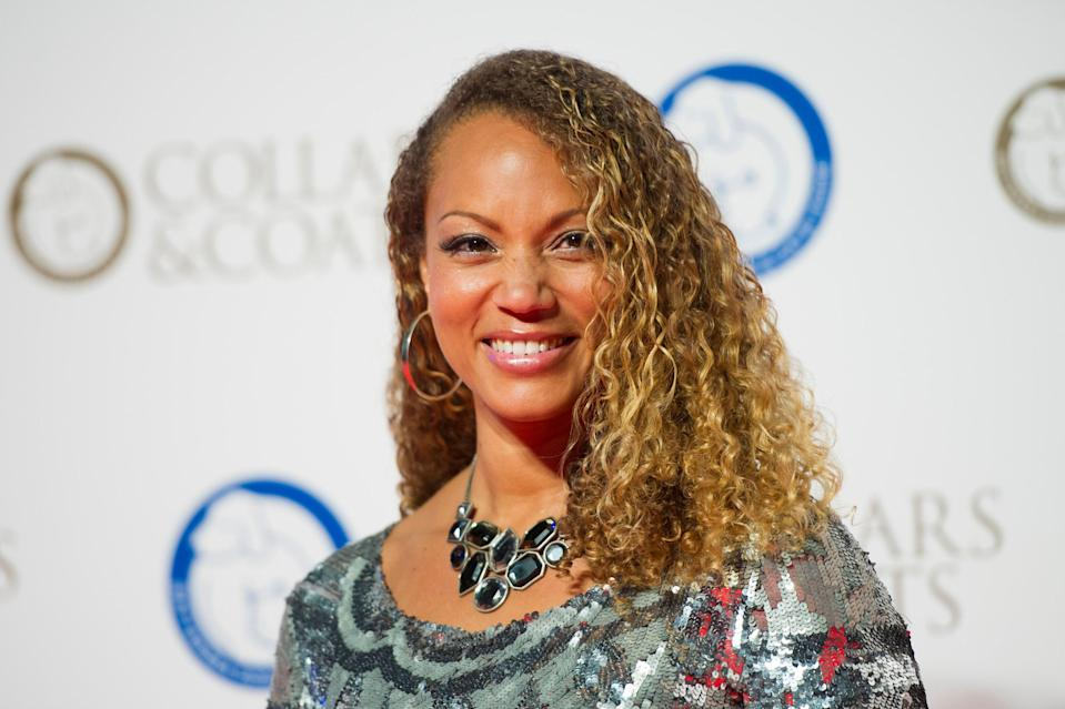 Angela Griffin attending the Battersea Dogs and Cats Home Collars and Coats Ball, at Battersea Evolution in London.