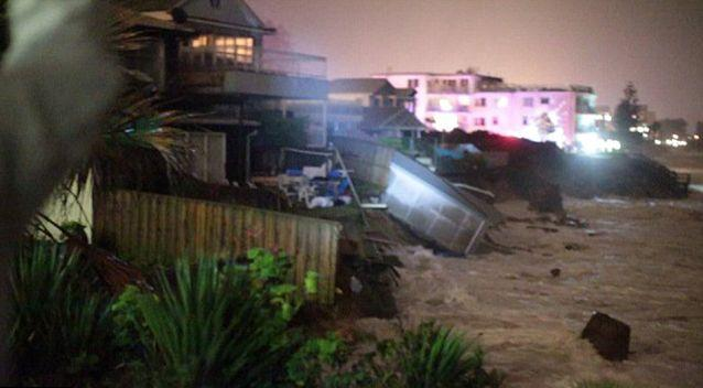 Ms Silk was evacuated at 7:30pm the night before, saying she still had close to 25 metres of garden between her house and the ocean. Photo: 7 News