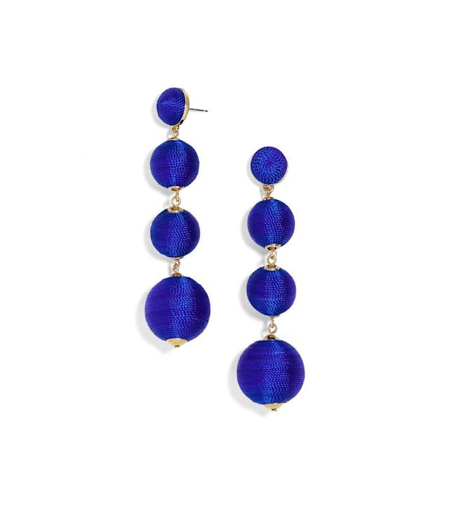 "<p>BaubleBar Griselda ball-drop earrings, $58, <a href=""https://www.baublebar.com/product/34607-criselda-ball-drop-earrings?sku=33566"" rel=""nofollow noopener"" target=""_blank"" data-ylk=""slk:baublebar.com"" class=""link rapid-noclick-resp"">baublebar.com</a> </p>"