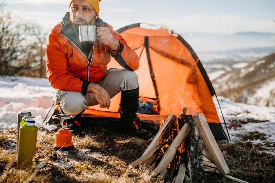 """<p>While winter camping requires more gear than it does in warm weather, getting outdoors has its own rewards any time of year. Think sipping hot coffee by a roaring fire, cooking yummy camping meals and cuddling with your main squeeze for warmth. </p><p><strong>RELATED: </strong><a href=""""https://www.goodhousekeeping.com/holidays/gift-ideas/g29499968/best-camping-gift-ideas/"""" rel=""""nofollow noopener"""" target=""""_blank"""" data-ylk=""""slk:36 Coolest Camping Gifts for Your Outdoorsy Friends and Family"""" class=""""link rapid-noclick-resp"""">36 Coolest Camping Gifts for Your Outdoorsy Friends and Family</a></p>"""