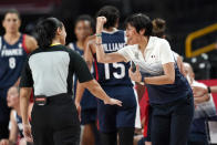 France head coach Valerie Garnier questions a call during a women's basketball quarterfinal round game against Spain at the 2020 Summer Olympics, Wednesday, Aug. 4, 2021, in Saitama, Japan. (AP Photo/Eric Gay)