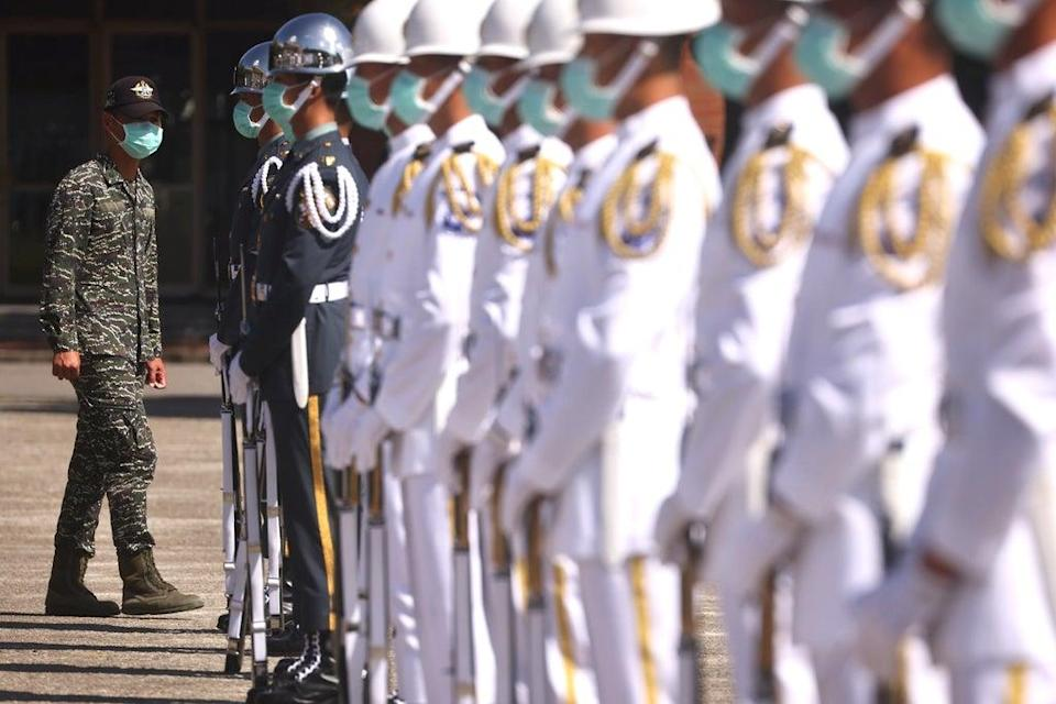 Honour guards in Taipei during the national day rehearsals (REUTERS)