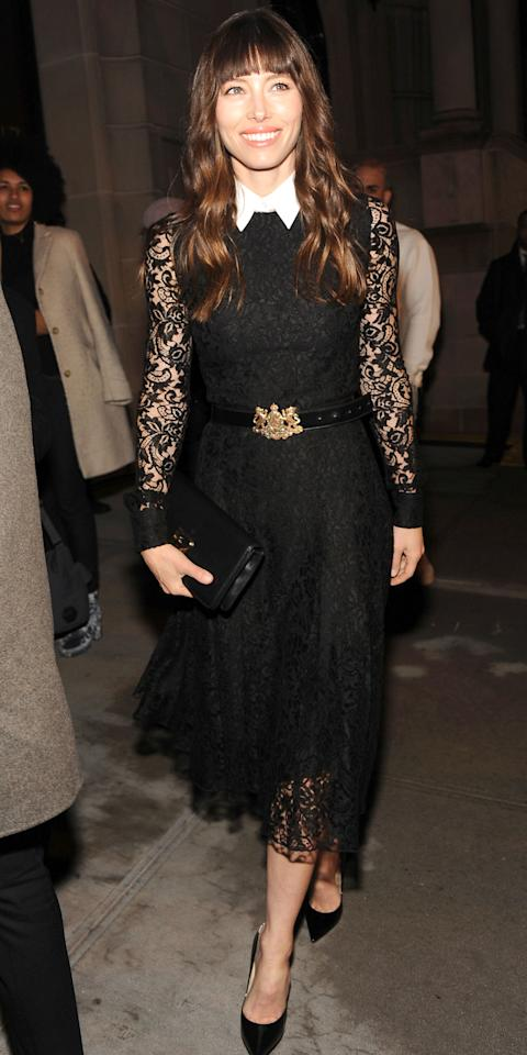 "<p>Biel arrived at the Ralph Lauren Autumn/Winter 2017 show in N.Y.C. wearing a sleek mid-calf length black lace gown (shop a similar dress <a rel=""nofollow"" href=""http://www.anrdoezrs.net/links/7799179/type/dlg/sid/ISJessicaBielBlackLaceIJMarch/https://www.stylebop.com/en-us/women/lace-dress-250625.html?tmad=c&tmcampid=230&partner=polyvore&campaign=affiliate/polyvore/usa/&utm_source=affiliate&utm_medium=polyvore_us&utm_campaign=polyvore_{Burberry+London}_{Dresses}_{250625}&cpkey=BefE_BSNg_6MGqATwHtZqQI7gDpehVTDpMO0Utp2KYE"">here</a>) with a white collar, which she paired with black pumps and a waist belt with a bejewled golden crest. </p>"