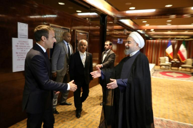 France's President Emmanuel Macron supports the Iran nuclear deal that Iranian President Hassan Rouhani will defend at the UN General Assembly