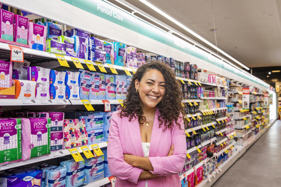 Ash London poses in the period care aisle at the Woolworths Northbridge store on 24th February 2021