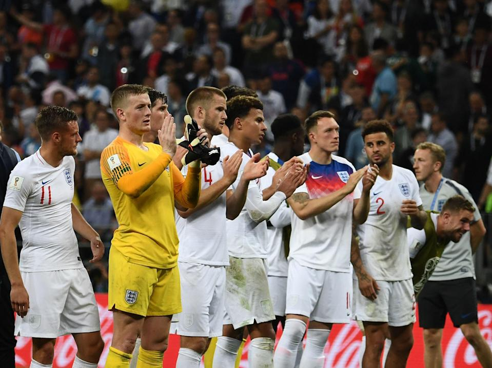 <p>England players react to their 2018 World Cup semi-final loss to Croatia</p> (AFP via Getty Images)