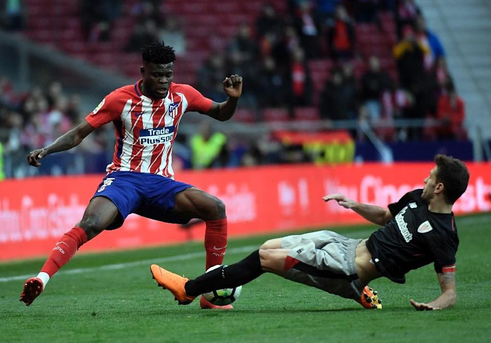 Thomas Partey has scored five goals in 35 appearances for Atletico this season (AFP Photo/GABRIEL BOUYS )