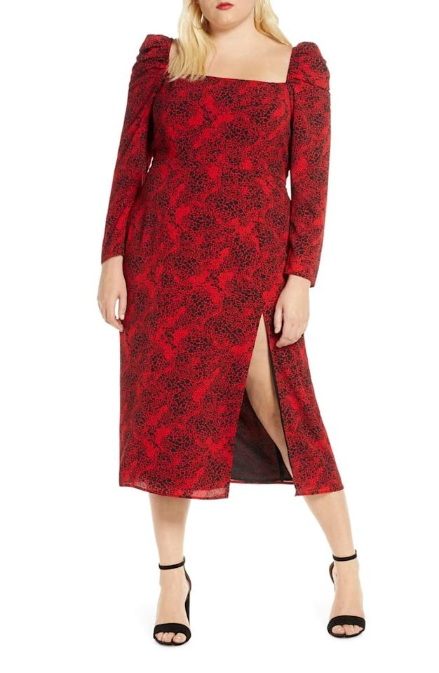 "<p>This romantic <a href=""https://www.popsugar.com/buy/Leith-Spatter-Print-Square-Neck-Long-Sleeve-Midi-Dress-486555?p_name=Leith%20Spatter%20Print%20Square-Neck%20Long-Sleeve%20Midi%20Dress&retailer=shop.nordstrom.com&pid=486555&price=69&evar1=fab%3Auk&evar9=45208505&evar98=https%3A%2F%2Fwww.popsugar.com%2Ffashion%2Fphoto-gallery%2F45208505%2Fimage%2F46582032%2FLeith-Spatter-Print-Square-Neck-Long-Sleeve-Midi-Dress&list1=shopping%2Cfall%20fashion%2Cdresses%2Cfall%2Ccurvy%20fashion&prop13=api&pdata=1"" rel=""nofollow"" data-shoppable-link=""1"" target=""_blank"" class=""ga-track"" data-ga-category=""Related"" data-ga-label=""https://shop.nordstrom.com/s/leith-spatter-print-square-neck-long-sleeve-midi-dress-plus-size/5313484?origin=category-personalizedsort&amp;breadcrumb=Home%2FWomen%2FClothing%2FPlus-Size%20Clothing%2FDresses&amp;color=red%20chili-%20black%20dot"" data-ga-action=""In-Line Links"">Leith Spatter Print Square-Neck Long-Sleeve Midi Dress </a> ($69) is perfect for a night out.</p>"