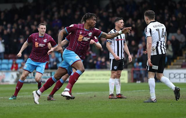 "Soccer Football - League One - Scunthorpe United vs Rochdale - Glanford Park, Scunthorpe, Britain - March 24, 2018 Scunthorpe United's Ivan Toney celebrates scoring their first goal Action Images/John Clifton EDITORIAL USE ONLY. No use with unauthorized audio, video, data, fixture lists, club/league logos or ""live"" services. Online in-match use limited to 75 images, no video emulation. No use in betting, games or single club/league/player publications. Please contact your account representative for further details."