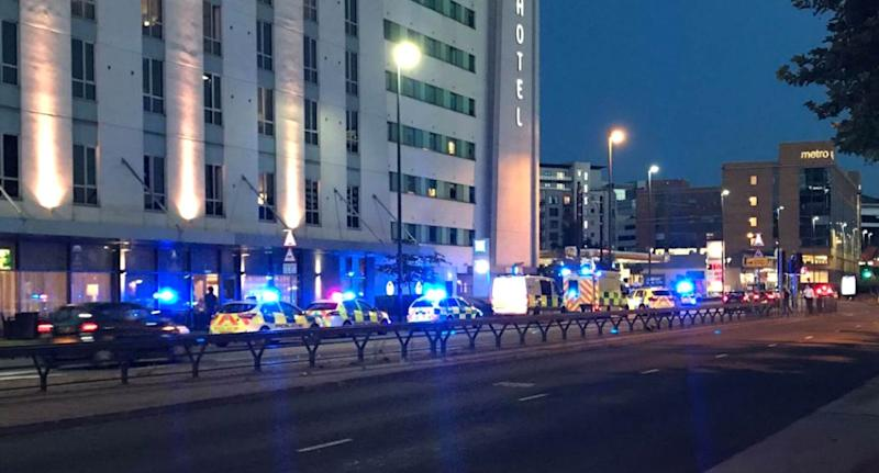 Armed police attended because they were closest to the scene. Pic: @jmagudom