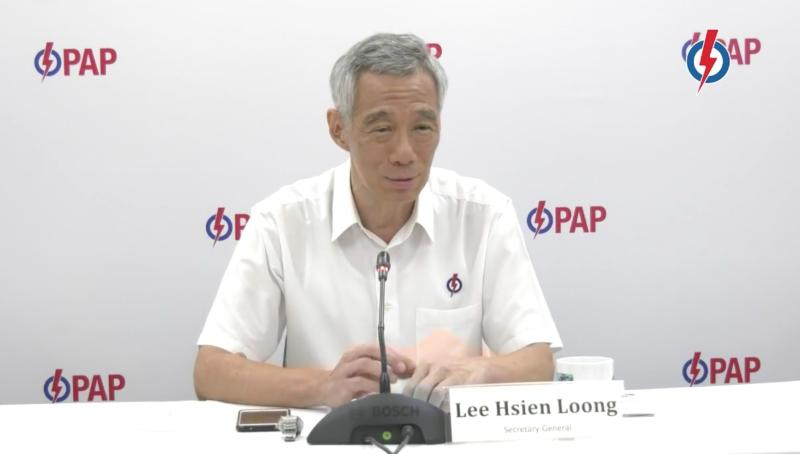 Singapore Prime Minister Lee Hsien Loong during a PAP virtual media conference to introduce candidates for Ang Mo Kio GRC for upcoming General Election. (PHOTO: Screenshot/Facebook)
