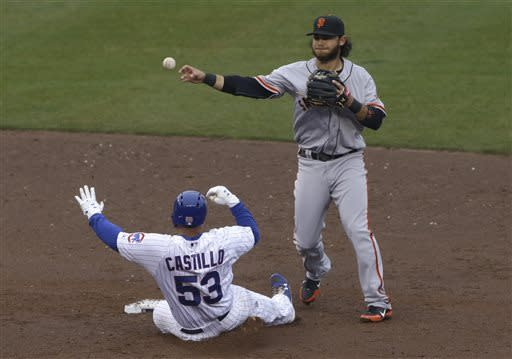 San Francisco Giants shortstop Brandon Crawford, right, throws to first after forcing out Chicago Cubs' Welington Castillo during the second inning of a baseball game in Chicago, Thursday, April 11, 2013. Chicago Cubs' Brent Lillibridge advanced to second, on a throwing error by Crawford. (AP Photo/Nam Y. Huh)