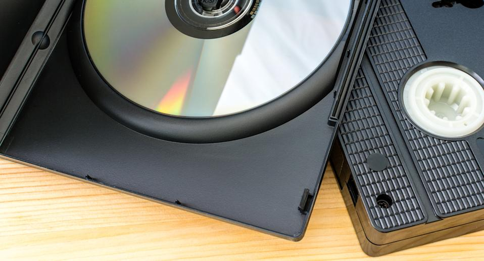 A DVD and a VHS tape are pictured.