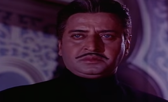 Considered among his finest performances, Pran played Gajendra, the ruthless, whip-cracking brother-in-law from hell.