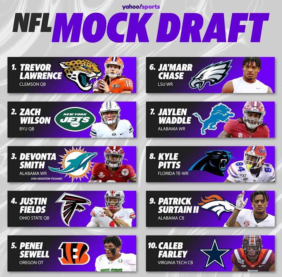 In this projection, three quarterbacks crack the top 10 of the 2021 NFL draft. (Amber Matsumoto/Yahoo Sports)