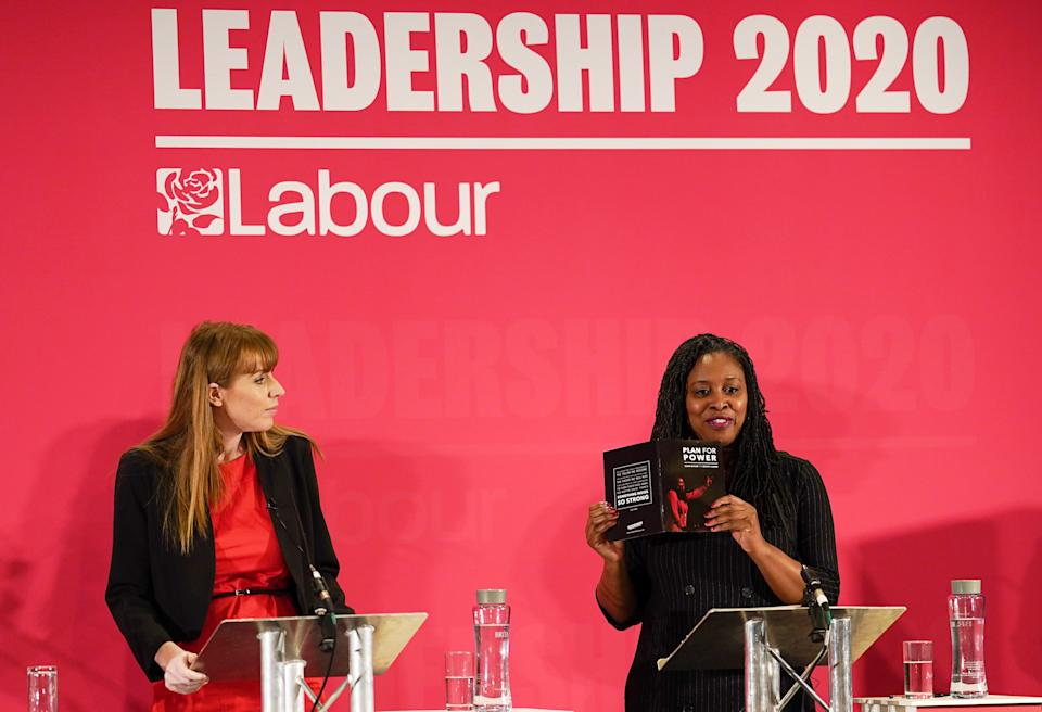 DURHAM, ENGLAND - FEBRUARY 23: Dawn Butler (R), Shadow Secretary of State for Women and Equalities talks about her Plan For Power during the Labour Party Deputy Leadership hustings at the Radisson Blu Hotel on February 23, 2020 in Durham, England. Ian Murray, Angela Rayner, Richard Burgon, Dr Rosena Allin-Khan and Dawn Butler are vying to become Labour's deputy leader following the departure of Tom Watson, who stood down in November last year. The ballot will open to party members and registered and affiliated supporters on February 24. (Photo by Ian Forsyth/Getty Images)