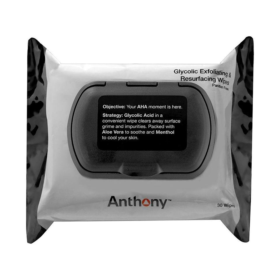 """<p><strong>Anthony</strong></p><p>dermstore.com</p><p><strong>$25.00</strong></p><p><a href=""""https://go.redirectingat.com?id=74968X1596630&url=https%3A%2F%2Fwww.dermstore.com%2Fproduct_Glycolic%2BExfoliating%2Band%2BResurfacing%2BWipes_63213.htm&sref=https%3A%2F%2Fwww.bestproducts.com%2Fbeauty%2Fg22530244%2Fbenefits-of-glycolic-acid-skincare-products%2F"""" rel=""""nofollow noopener"""" target=""""_blank"""" data-ylk=""""slk:Shop Now"""" class=""""link rapid-noclick-resp"""">Shop Now</a></p><p>Anthony just gave us an AHA moment. (Get it?!) This unique batch of wipes, enhanced with glycolic acid, swipes away grime and impurities. Each wipe has a textured side for a little extra exfoliation, to leave your skin looking radiant and bright with little effort.</p><p>These easy-to-pack wipes are perfect for stowing away in your gym bag, carry-on, or purse to give your skin an instant radiance boost.</p>"""
