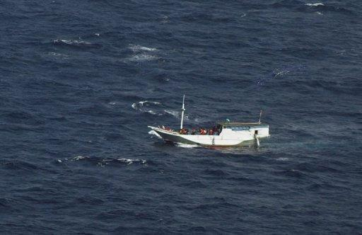 Image provided by the Indonesian National Search and Rescue Agency in July 2012 shows a boat believed to be carrying up to 180 asylum-seekers spotted off Indonesia, about 50 nautical miles south of Java island and sailing towards Australian waters