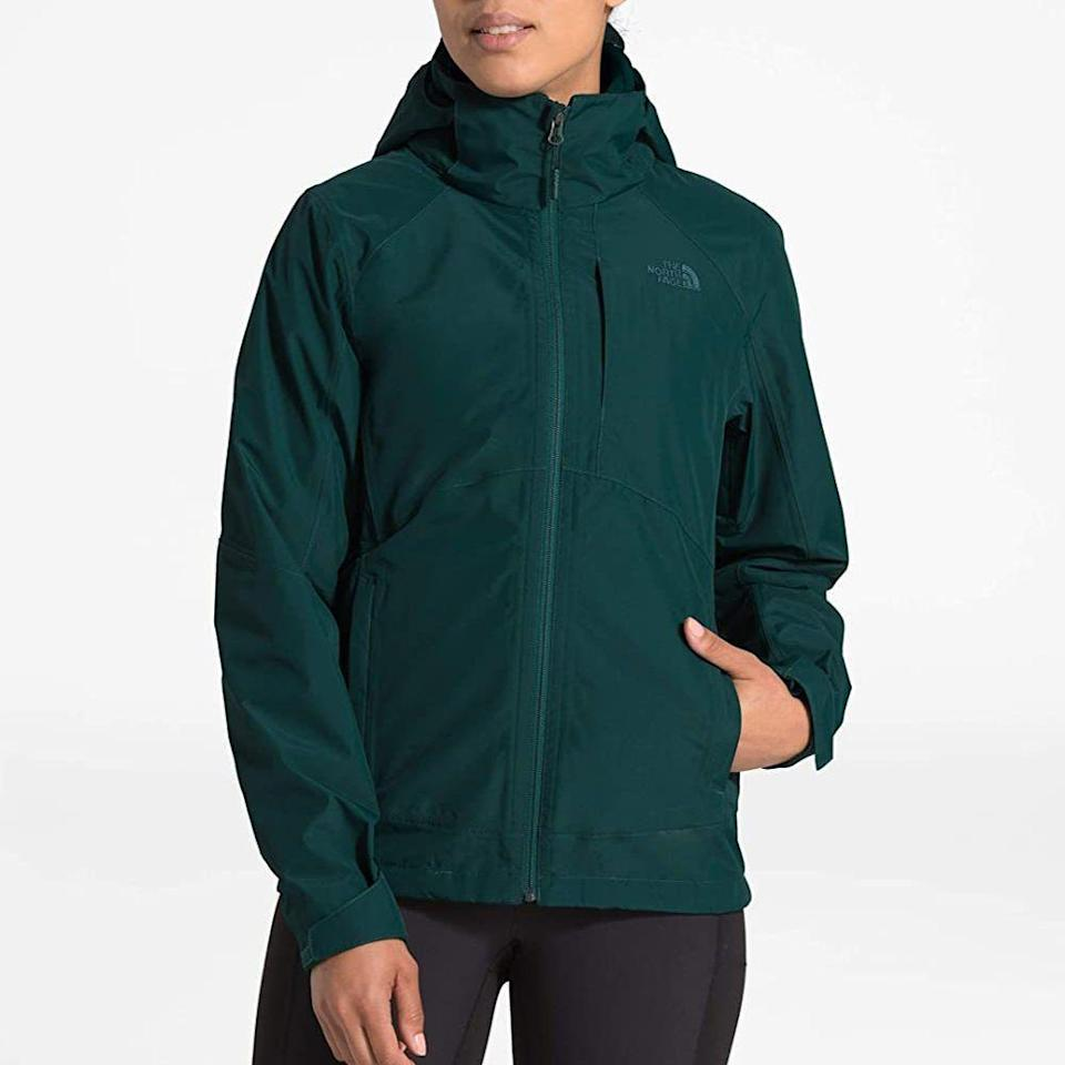 """<p><strong>The North Face</strong></p><p>amazon.com</p><p><strong>$125.71</strong></p><p><a href=""""https://www.amazon.com/dp/B07NMWWGCC?tag=syn-yahoo-20&ascsubtag=%5Bartid%7C2141.g.32869392%5Bsrc%7Cyahoo-us"""" rel=""""nofollow noopener"""" target=""""_blank"""" data-ylk=""""slk:Shop Now"""" class=""""link rapid-noclick-resp"""">Shop Now</a></p><p>For more insulation during cold climate hikes, this North Face jacket shields your body from snow, wind, and rain. Its fleece lining is sure to keep you warm (but not <em>too </em>warm) and the brand's DryVent material provides seam taped protection from the elements. It's also super stylish!</p>"""