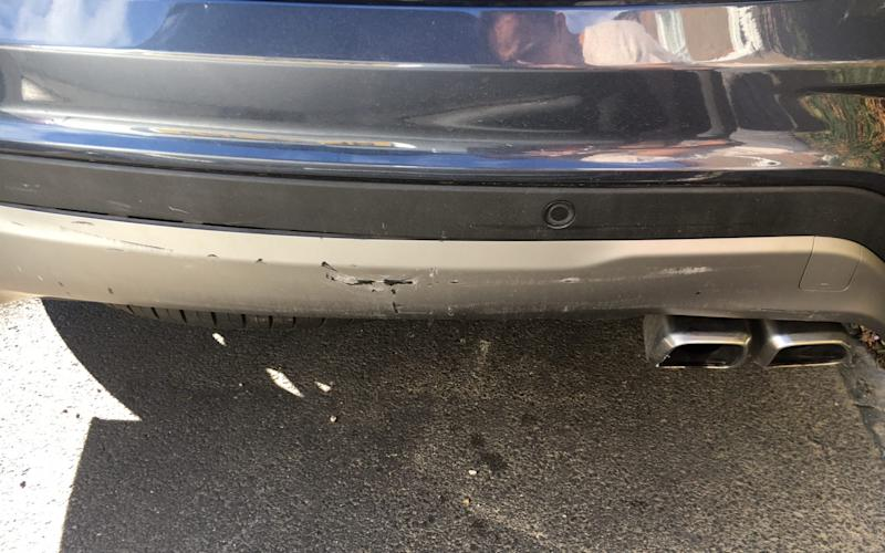 Hyundai Santa Fe long-term - rear bumper damage after being rear-ended