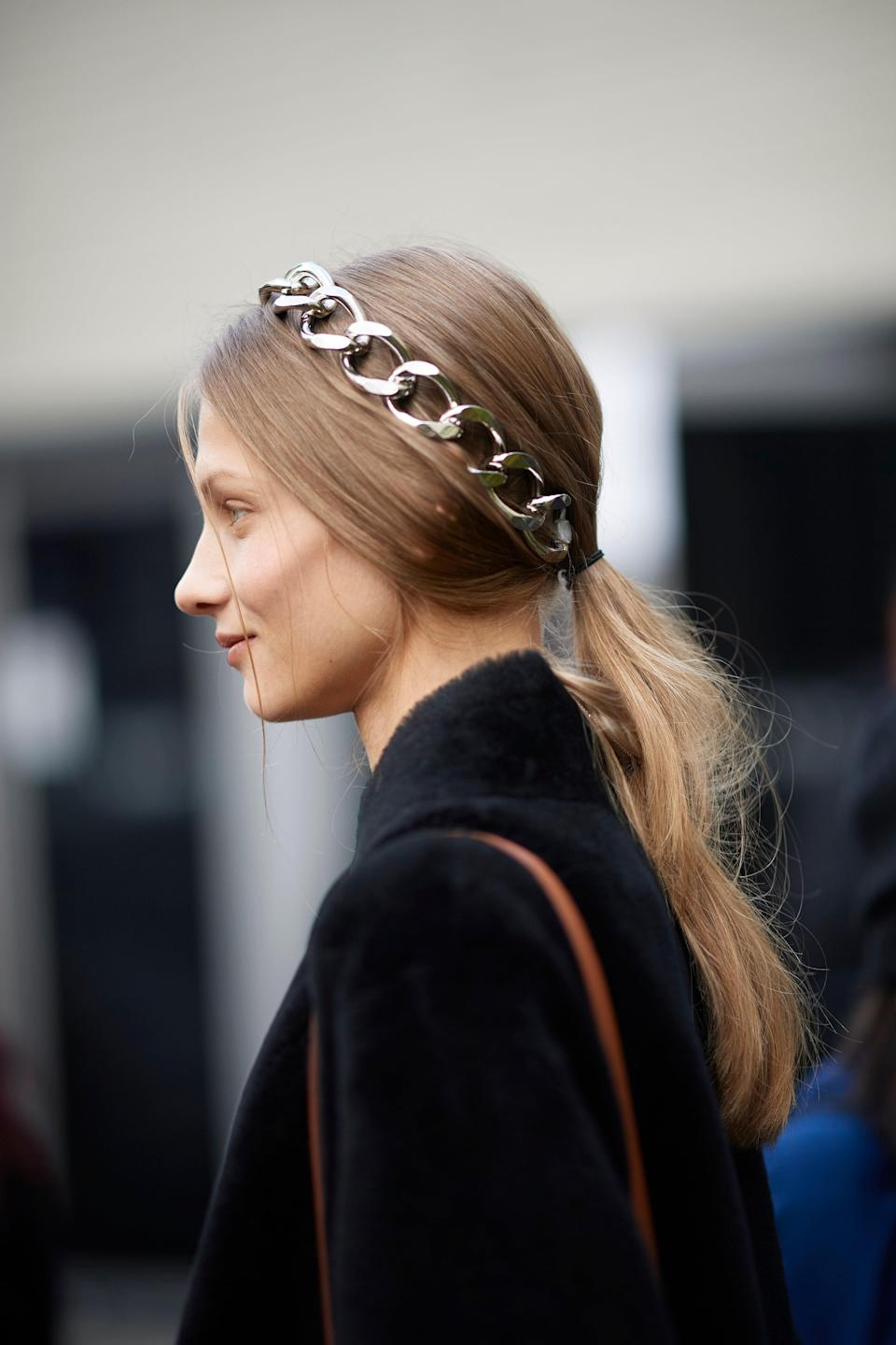 """There's no easier way to take a ponytail from basic to bold than adding a headband—and we've got <a href=""""https://www.glamour.com/gallery/best-hair-accessories?mbid=synd_yahoo_rss"""" rel=""""nofollow noopener"""" target=""""_blank"""" data-ylk=""""slk:plenty of favorites to choose from"""" class=""""link rapid-noclick-resp"""">plenty of favorites to choose from</a>."""