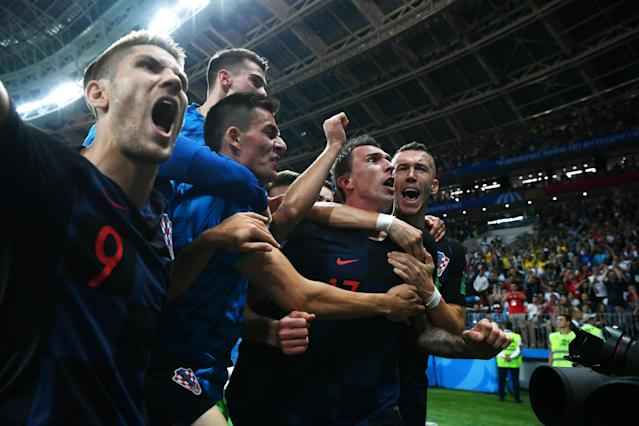 <p>Croatia celebrate going to the World Cup final for the first time </p>