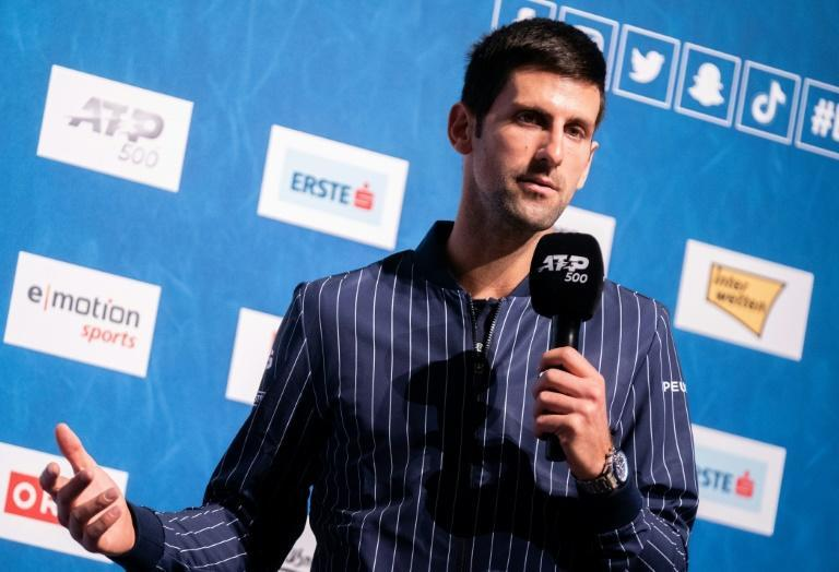 Target Sampras: Novak Djokovic addresses a press conference in Vienna on Sunday