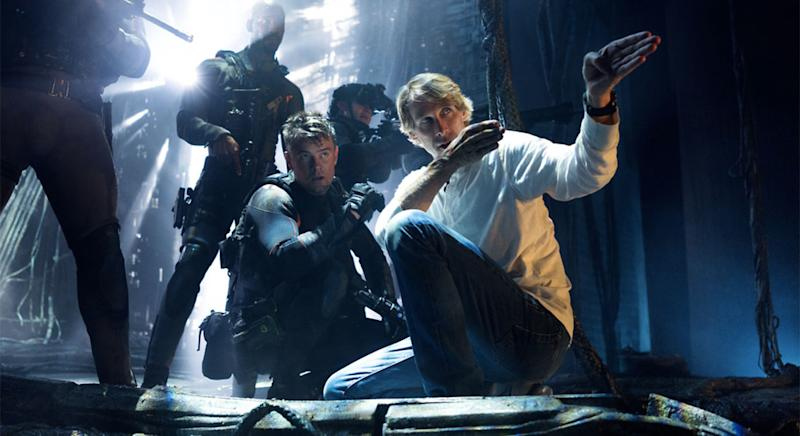 Michael Bay gives direction to Josh Duhamel on the set of 'Transformers: The Last Knight' (Paramount)