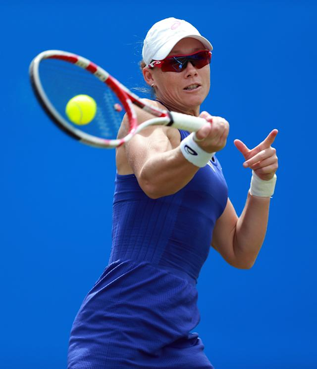 Australia's Sam Stosur in action against Christina McHale of the US during the Aegon Classic tennis tournament at Edgbaston Priory Club in Birmingham, England, Wednesday June 11, 2014. (AP Photo / David Davies, PA)