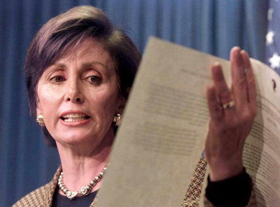 <p>Pelosi discussing a bill in a press conference in Washington, D.C. </p>