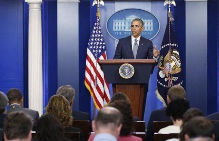 U.S. President Obama discusses the situation in Ukraine during White House news conference in Washington