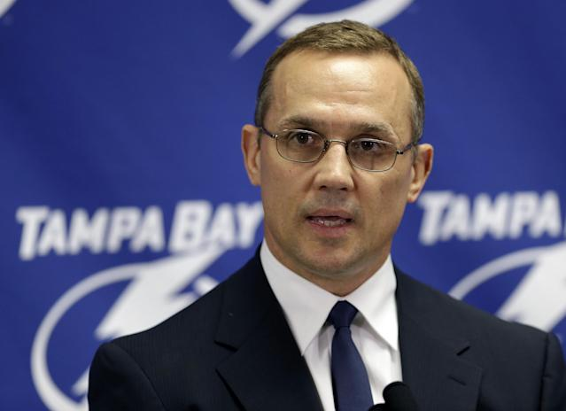 Tampa Bay Lightning general manager Steve Yzerman talks about the trade of team captain Martin St. Louis to the New York Rangers Wednesday, March 5, 2014, in Tampa, Fla. The Lightning got Ryan Callahan and a first and conditional second round draft pick in the trade. (AP Photo/Chris O'Meara)