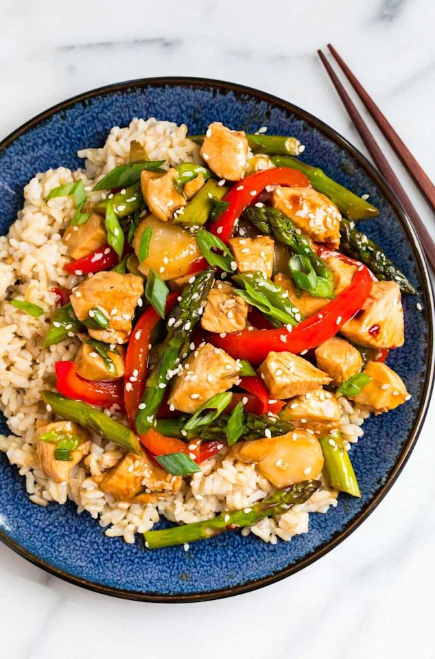"<p>Because stir-fries are cooked over high heat in a wok or large sauté pan, they make some of the fastest meals. Serve this blend of chicken, tender veggies, and teriyaki sauce over brown rice or cauliflower rice.</p> <p><strong>Get the recipe:</strong> <a href=""https://www.wellplated.com/teriyaki-chicken-stir-fry/"" target=""_blank"" class=""ga-track"" data-ga-category=""Related"" data-ga-label=""https://www.wellplated.com/teriyaki-chicken-stir-fry/"" data-ga-action=""In-Line Links"">teriyaki chicken stir-fry</a></p>"