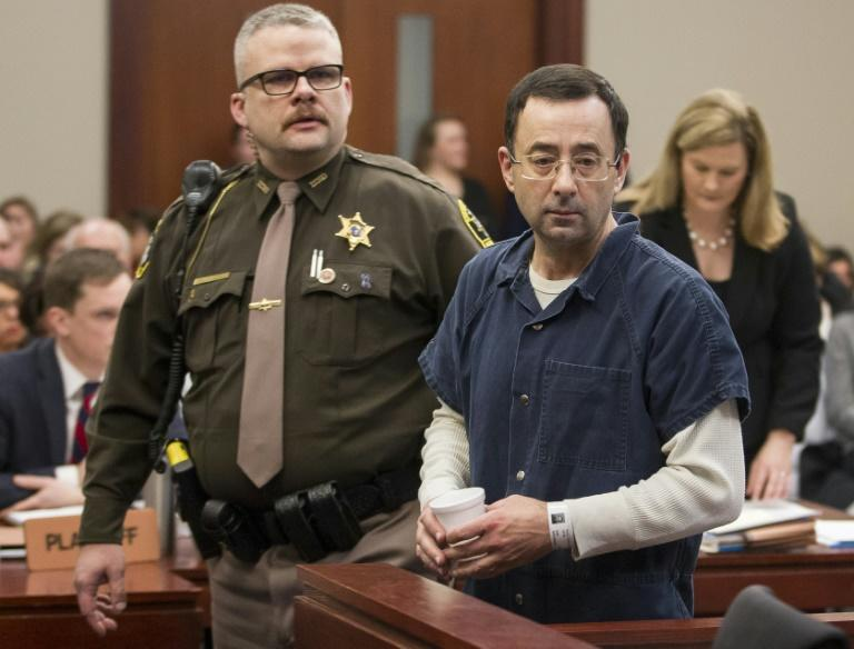 Disgraced former USA Gymnastics team doctor Larry Nassar at his sentencing hearing in Lansing, Michigan, for sexual abuse