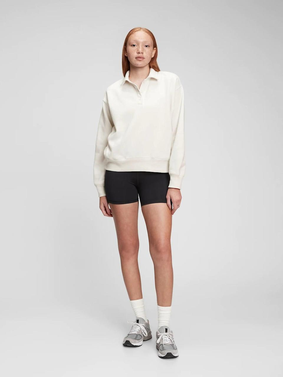 <p>Collared sweatshirts are having a moment right now, and we're not mad about it. This <span>Gap Vintage Soft Henley Collar Sweatshirt</span> ($43, originally $55) is so polished, but still cozy.</p>