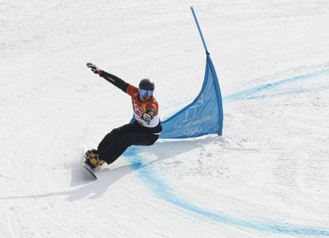 Vic Wild, Olympic Athlete from Russia, competes in the Parallel Giant Slalom . (REUTERS)