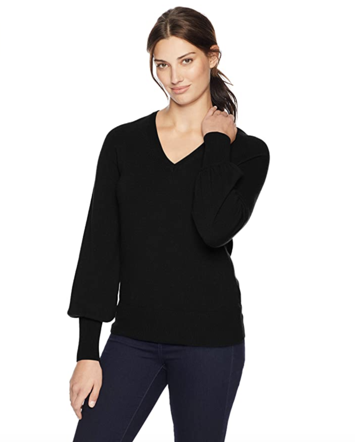 Lark & Ro Women's Sweaters V Neck Cashmere Sweater with Bell Sleeves (Photo: Amazon)