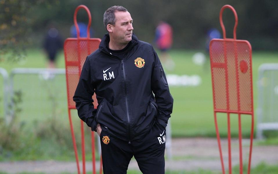 First Team Coach Rene Meulensteen of Manchester United in action during a first team training session at Carrington Training Ground on October 14, 2011 - GETTY IMAGES