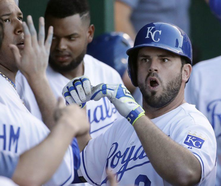 Mike Moustakas won the Final Vote again. (AP Photo)