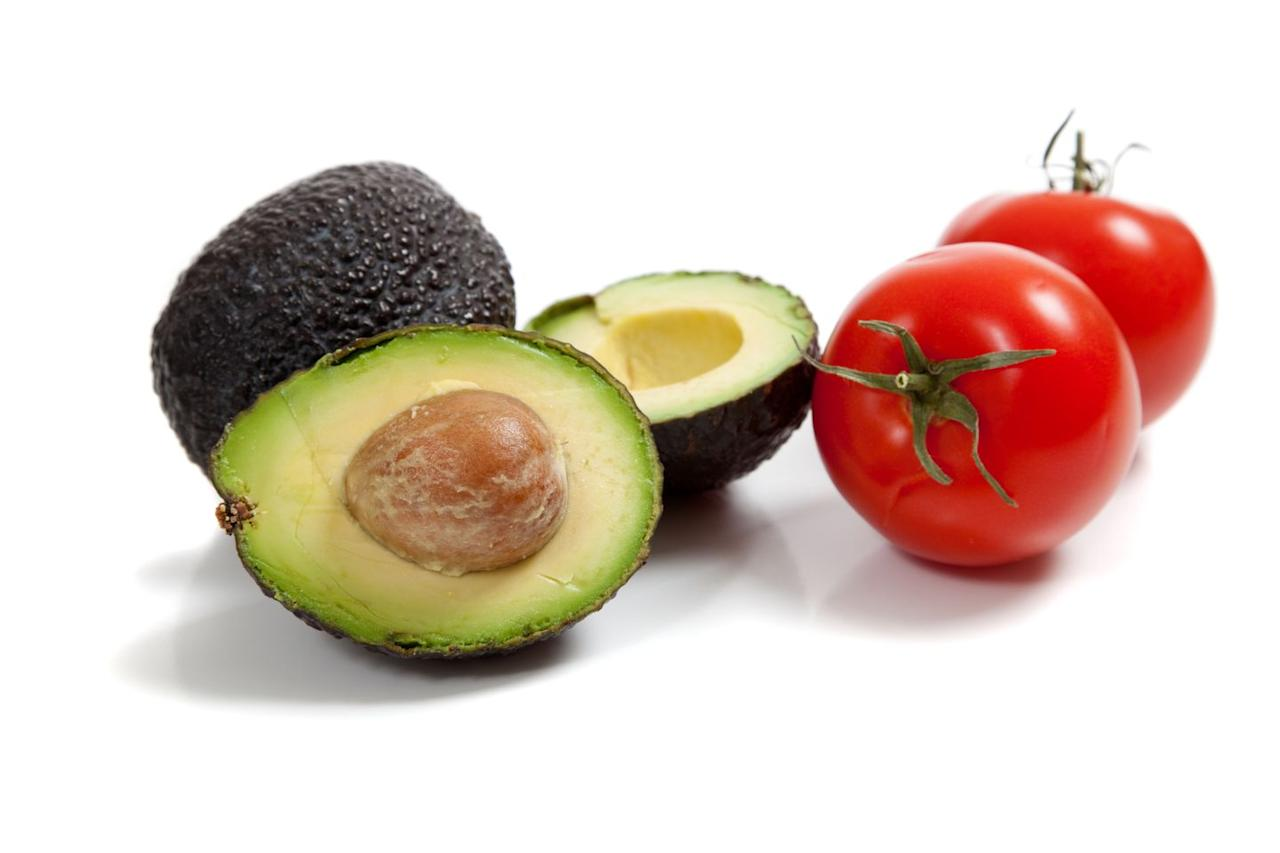 """<p>The fatty acids and fiber found in avocados keep you full for longer. In fact, avocados eaters weighed less, had smaller waists, and lower body mass indexes, according to <a href=""""https://www.ncbi.nlm.nih.gov/pmc/articles/PMC3545982/"""" target=""""_blank"""">one study</a> from 2013. Pair avocados with tomatoes, which are low in calorie but full of lycopene, <a href=""""https://www.ncbi.nlm.nih.gov/pmc/articles/PMC5974099/"""" target=""""_blank"""">an antioxidant that supports healthy blood pressure.</a><br></p>"""